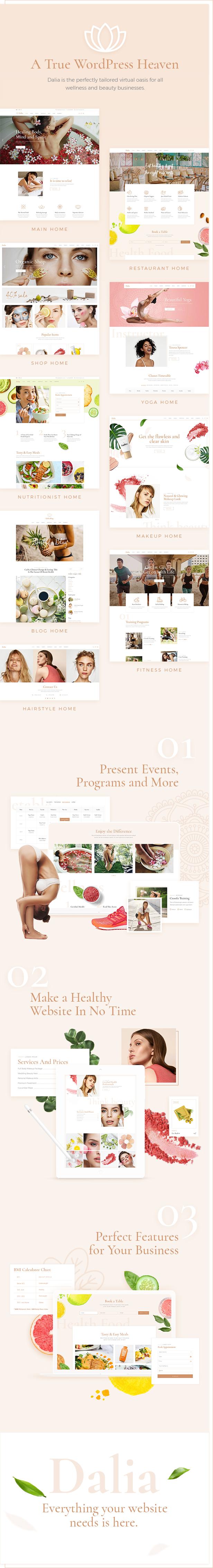 WordPress theme Dalia - A Modern Wellness and Lifestyle Theme (Health & Beauty)